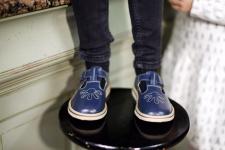 Tamsiai mėlyni sandalai